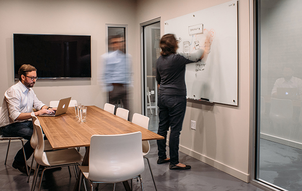 the team at work in the meeting room